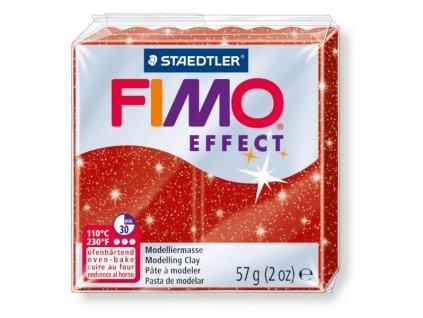 STAEDTLER FIMO efekt červená se třpytkami 57g