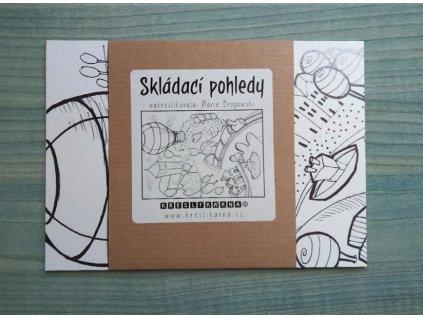 KRESLÍKÁRNA Skládací pohledy - Let balonem - Omalovánky