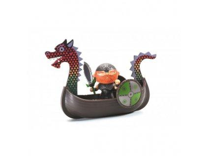 Pohyblivá figurka - Rudovous a vikingská loď