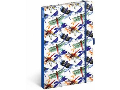 PRESCO GROUP Notes Vážky linkovaný, 13 × 21 cm