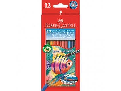 Faber-Castell Pastelky Akvarelové pap.krabička 12ks + štěteček