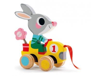 DJECO Tahací hračka - Zajíček ve formuli Roulapic