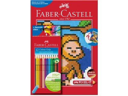 Pastelky GRIP 2001 12ks + A4 omalovánky pixel