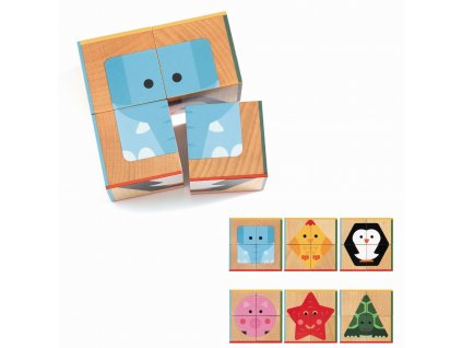 DJECO Dřevěné kostky - Zvířátka geometrické tvary