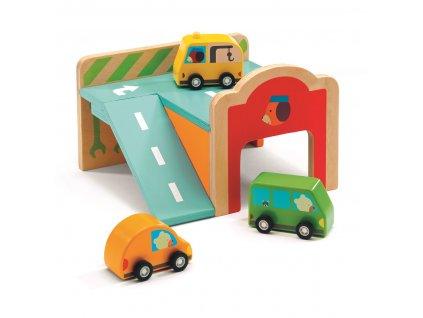 Dřevěná mini garáž s autíčky