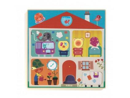 Vkládací puzzle - Jak bydlí zvířátka