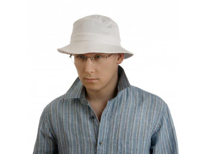Bílý letní pánský klobouk