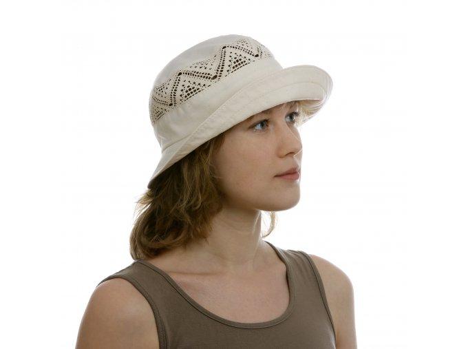 Vzdušný bílý dámský klobouk zbavlny