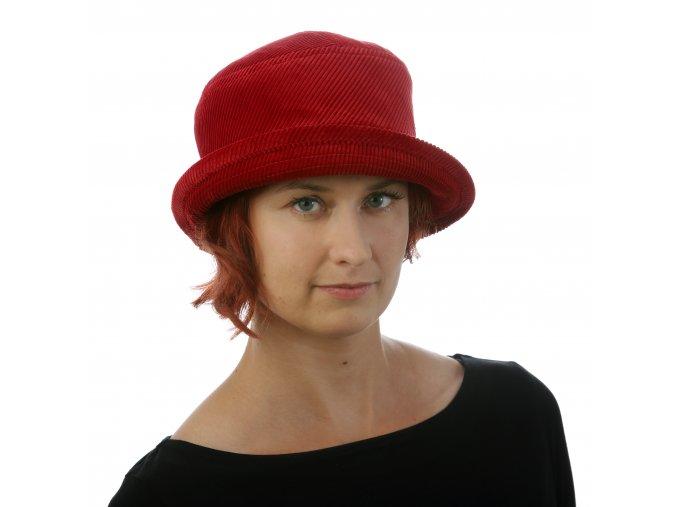 Stylový dámský klobouk z manšestru