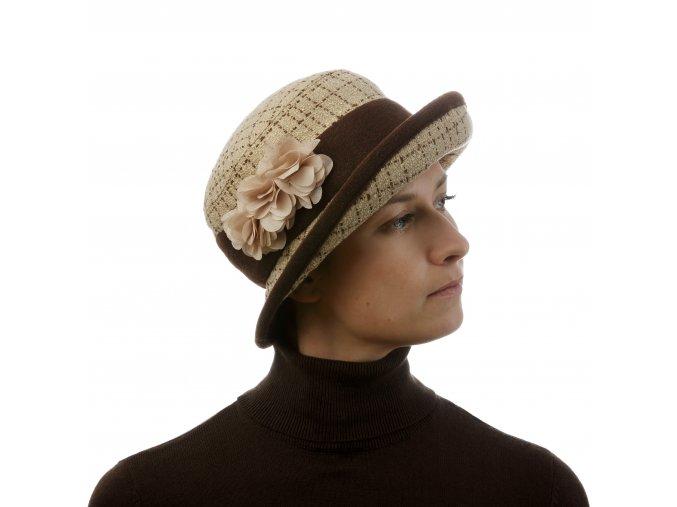 Béžový dámský klobouk s paspulovanou krempou