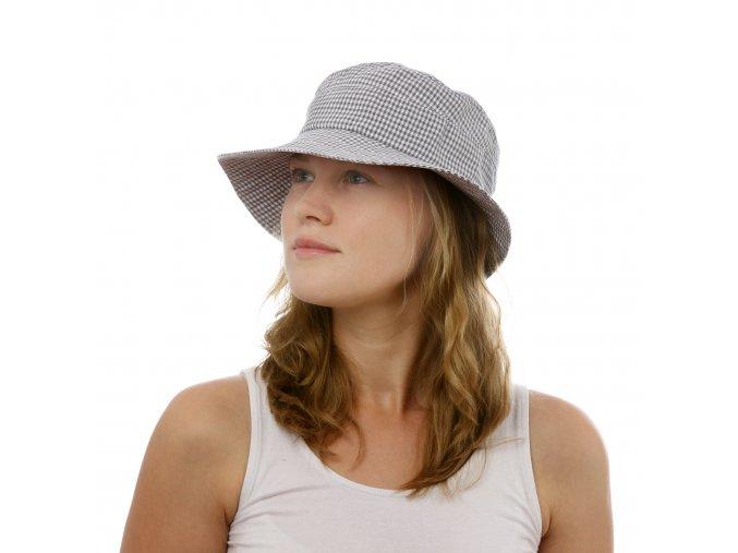 Dámský letní jemně kostkovaný klobouk