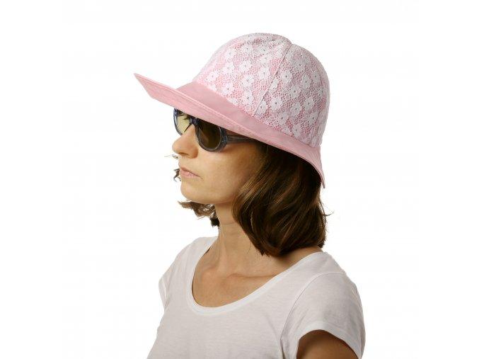 Růžový letní klobouk s krajkou
