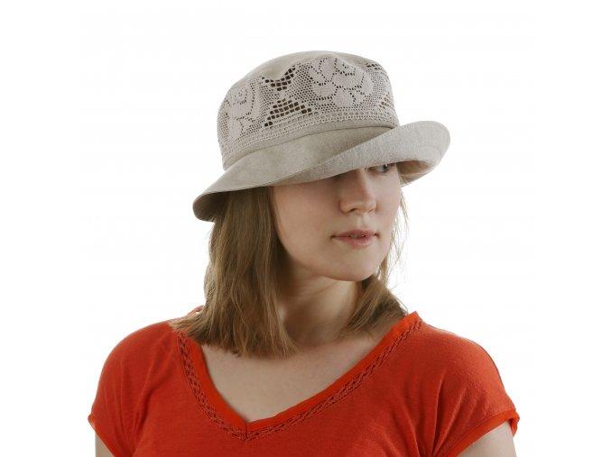 Elegantní dámský klobouk z režného lnu
