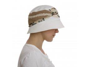 Letní bílý dámský kloboukse síťkou