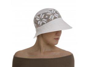 Bílý dámský klobouk s krajkou