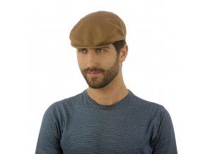 Bavlněná hnědo-béžová pánská čepice