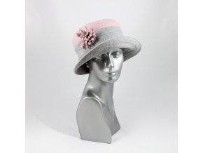 Šedo-růžový zimní dámský klobouk