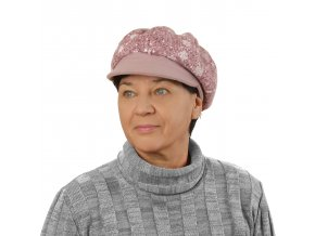 Růžová dámská kšiltovka s vločkami