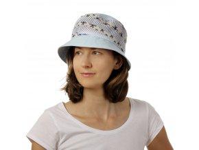 Bleděmodrý vyletněný dámský klobouk z bavlny
