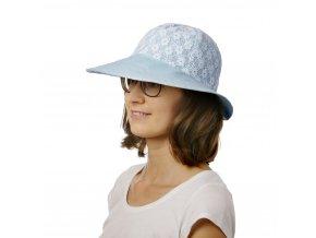Modrý letní klobouk s krajkou