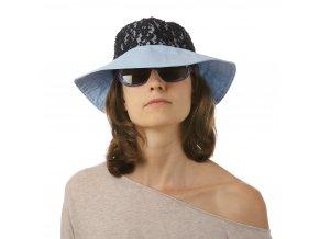 Modrý letní klobouk s černou krajkou