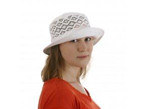 Stylový dámský klobouk z bílé bavlny
