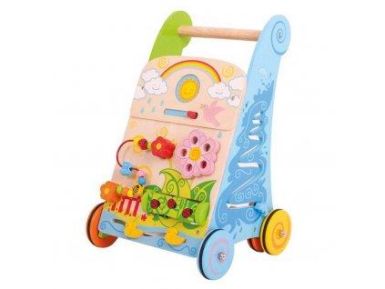 Chodítko Bigjigs Toys Baby aktivní, dřevěné, zahrada