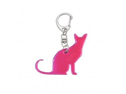 Reflexní přívěsek CAT na klíče 5,5 cm, růžový