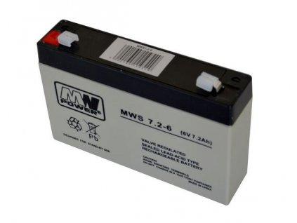 Baterie olověná 6V / 7,2 Ah MWS Power AGM gelový akumulátor