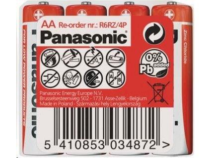 PANASONIC Zinkouhlíkové baterie Red Zinc R6RZ/4P AA 1,5V (shrink 4ks)