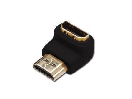 Digitus Adaptér HDMI, typ A, 90o úhlový M / F, Ultra HD 60p, bl, zlato