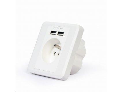 GEMBIRD nabíječka USB, elektrická zásuvka 230V, 2400mA, 2x USB, bílá