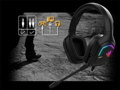 Gamdias RGB herní sluchátka PS4 HEBE E2