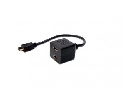 Kabel HDMI Y-rozbočovač, HDMI TypeA - 2x HDMI Typ A, 0,2m, CU, AWG30, stíněný, M / F, UL, pozlacený, černý