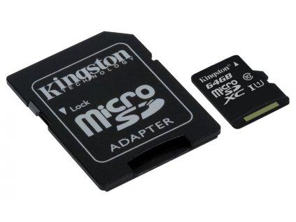 Paměťová karta Kingston microSDXC CL10 UHS-I 64GB, 80R + SD adaptér