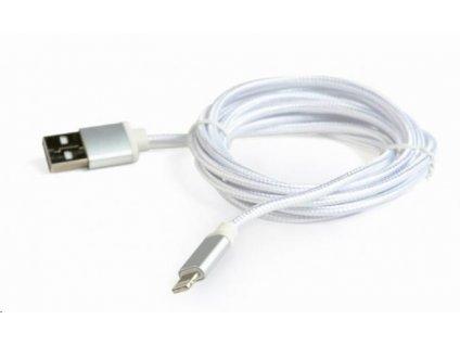 GEMBIRD Kabel CABLEXPERT USB 2.0 Lightning (IP5 a vyšší) nabíjecí a synchronizační kabel, opletený, 1,8m, stříbrný, blis