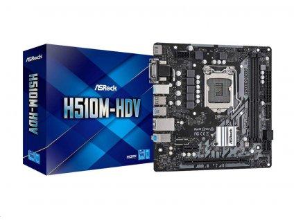 ASRock MB Sc LGA1200 H510M-HDV, Intel H510, 2xDDR4, 1xHDMI, 1xDVI, 1xVGA, mATX