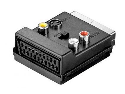 Redukce SCART(M) - SVHA(F)/ 3x cinch(F)/ 3x cinch (F) 3x cinch(F), s přepínačem vstup/výstup