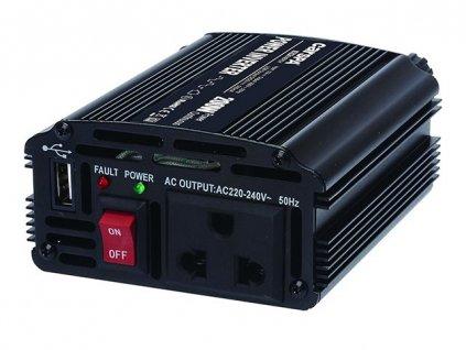 Napěťový měnič Carspa CAR200U-12, 12V/230V+USB 200W modifikovaná sínus
