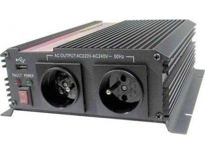 Napěťový měnič Carspa CAR1KU-12 12V/230V+USB 1000W, modifikovaná sinus