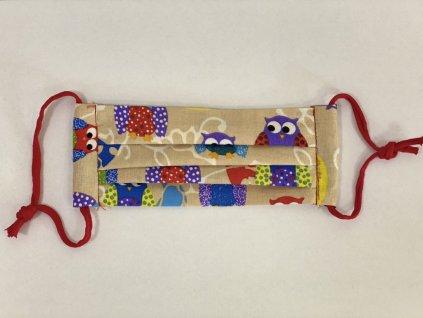 Hygienická rouška bavlněná hnědá vzor sovičky s kapsičkou pro děti