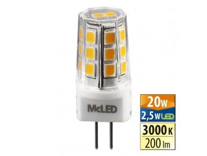 MCLED Žárovka LED 2,5W-20 G4 3000K 360°