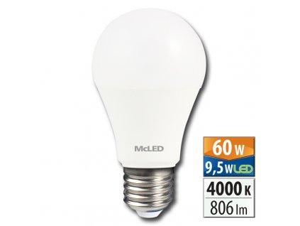 MCLED Žárovka LED 9,5W-60 E27 4000K 180°