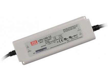 MEANWELL Napaječ LED 12V 150W LPV nestmívatelný IP65