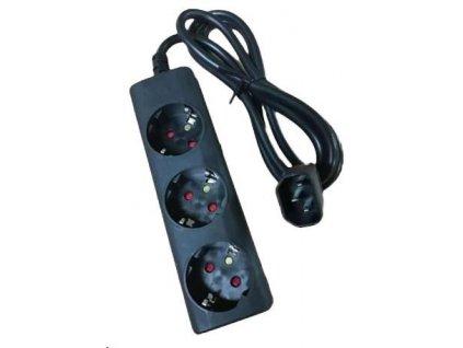 Eaton kabel / prodlužovací přívod do UPS, koncovka IEC C14, 3 zásuvky schuko, černý, 10A