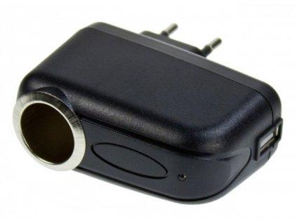 Adaptér 230V/12V s USBvýstupem pro připojení nabíječky, vhodný i pro GPS navigace