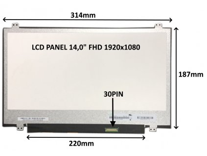 LCD PANEL 14,0'' FHD 1920x1080 30PIN MATNÝ / ÚCHYTY NAHOŘE A DOLE