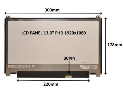 LCD PANEL 13,3'' FHD 1920x1080 30PIN MATNÝ / ÚCHYTY NAHOŘE A DOLE