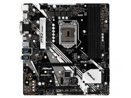 ASROCK MB B365M PRO4-F (intel 1151v2 coffee lake, 4xDDR4 2666MHz, VGA+DVI +HDMI, USB3.1, 6xSATA3, 1xM.2, 7.1, GLAN, mATX) pouze pro intel coffee lake