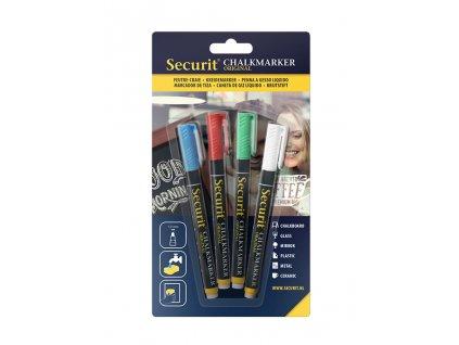 Křídový popisovač Securit SMA100 šířka hrotu 1-2mm, Assorted Colors, 4ks, blistr